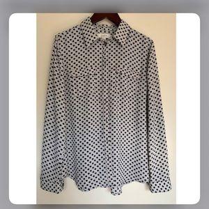 Ann Taylor Loft Polka Dot Shirt, Roll Back Sleeves